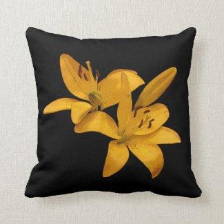 Golden Yellow Lilies Throw Pillow