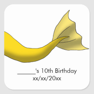 Golden Yellow Mermaid Tail Party Favor Square Sticker