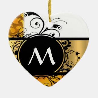 Golden yellow monogram pattern ceramic ornament