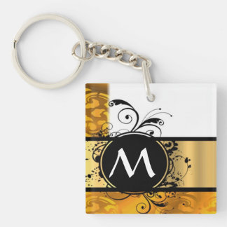 Golden yellow monogram pattern Double-Sided square acrylic keychain