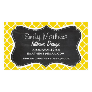Golden Yellow Moroccan Quatrefoil; Chalkboard look Business Card Template
