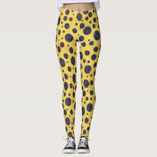 Golden yellow navy blue polka dots leggings
