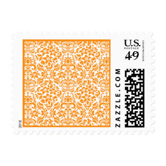 Golden Yellow Orange Damask Custom Postage Stamp Postage Stamp