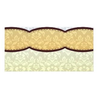 Golden Yellow paisley pattern Photo Card