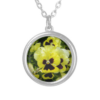Golden_Yellow_Pansies,_ Silver Plated Necklace