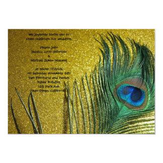 Golden Yellow Peacock Wedding Card