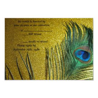 Golden Yellow Peacock Wedding RSVP Cards