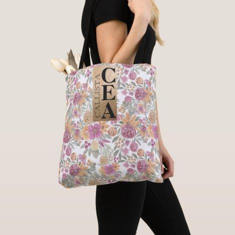 Golden Yellow Pink Floral Watercolor Monogram Tote Bag