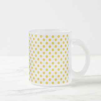 Golden Yellow Polka Dots 10 Oz Frosted Glass Coffee Mug