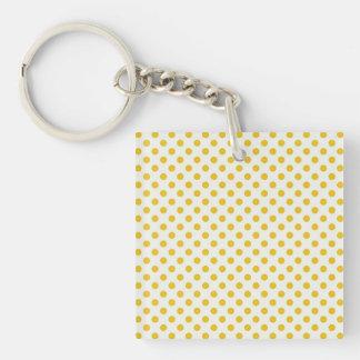 Golden Yellow Polka Dots Single-Sided Square Acrylic Keychain