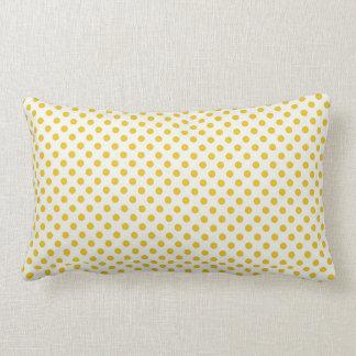 Golden Yellow Polka Dots Lumbar Pillow