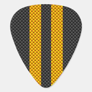 Golden Yellow Racing Stripes Carbon Fiber Style Guitar Pick