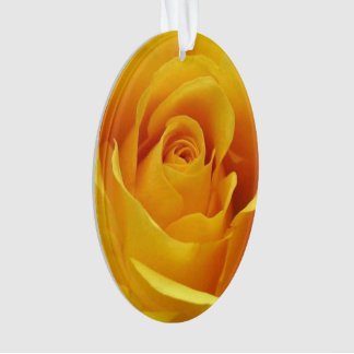 Golden Yellow Rose - Acrylic Oval Ornament