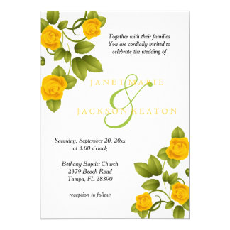 Golden Yellow Rose Flower Wedding Invitations