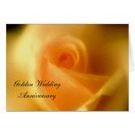 Golden Yellow Rose Golden Wedding Card Card