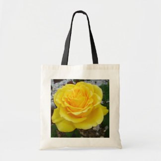 Golden Yellow Rose with Garden Background Budget Tote Bag