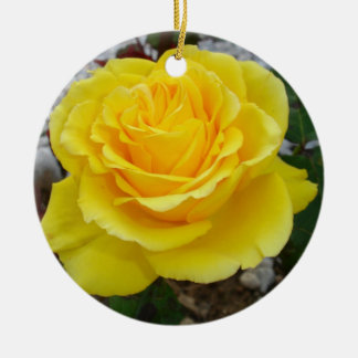 Golden Yellow Rose with Garden Background Ceramic Ornament