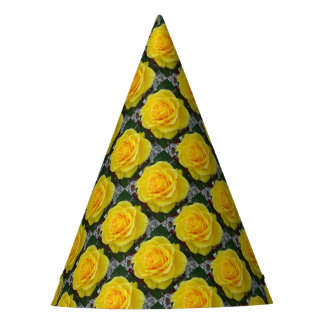 Golden Yellow Rose with Garden Background Party Hat