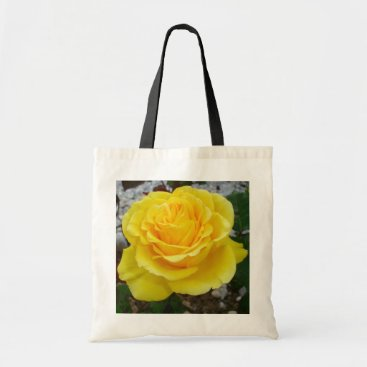 taiche Golden Yellow Rose with Garden Background Tote Bag