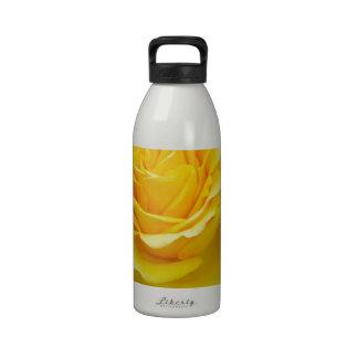 Golden Yellow Rose with Garden Background Water Bottle