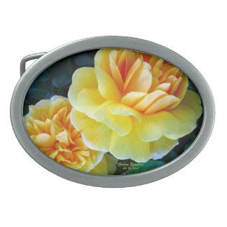 Golden Yellow Roses Belt Buckle