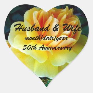 Golden Yellow Roses Custom Anniversary Heart Sticker