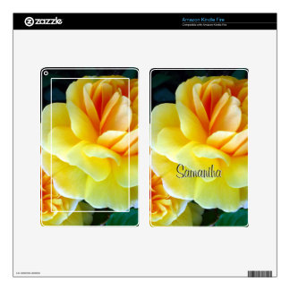 Golden Yellow Roses Personalized Kindle Fire Skin