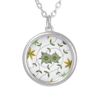 Golden Yellow Sage Spring Flower Garden Silver Plated Necklace