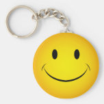 Golden Yellow Smiley Face Keychain
