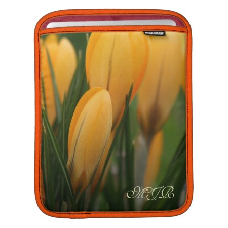 Golden-Yellow Spring Crocuses - Monogram Sleeves For iPads