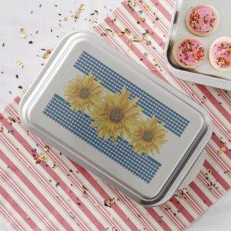 Golden-Yellow Sunflower and Navy Gingham Kitchen Cake Pan