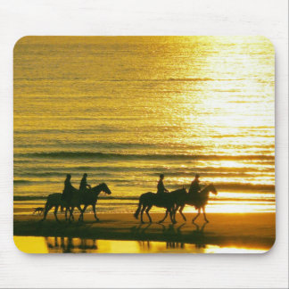 Golden Yellow Sunsets Horses Rides In The Beach Mouse Pad