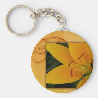 Golden yellow tiger lily for fall keychain