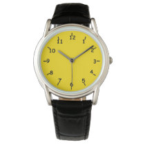 Golden Yellow Watch w/ Classic Black Leather Band