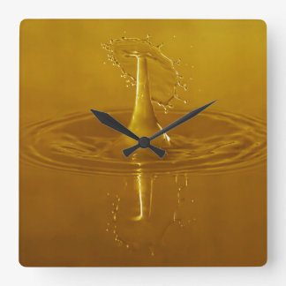 Golden Yellow Waterdrop Square Wall Clock