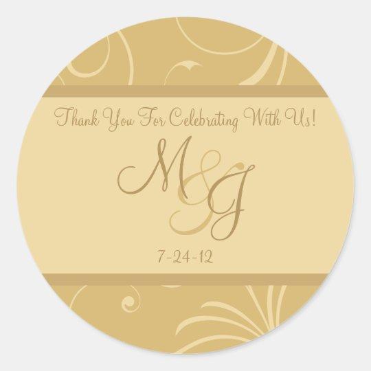 Golden Yellow Wedding Favor Labels with Monogram