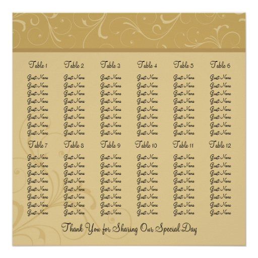 Golden Yellow Wedding Reception Seating Chart Poster