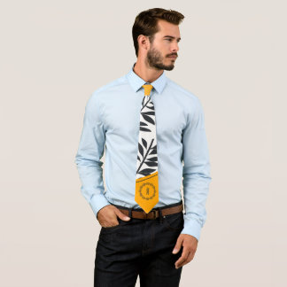 Golden Yellow, White and Charcoal Leafy Monogram Neck Tie