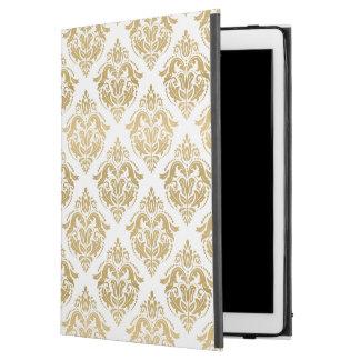"Golden Yellow & White Floral Damasks Pattern iPad Pro 12.9"" Case"