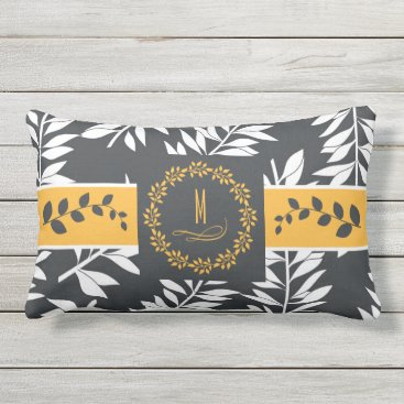 Beach Themed Golden Yellow with Charcoal Grey Monogram Outdoor Pillow