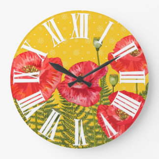 Golden Yellow with Red Poppies Roman Numerals Large Clock