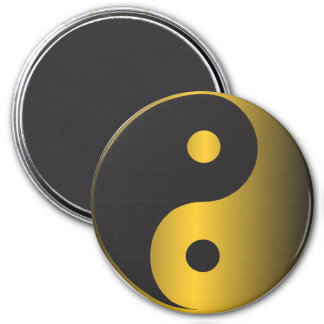 Golden Yin-Yang 3 Inch Round Magnet