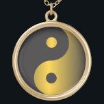 "Golden Yin-Yang Gold Finish Necklace<br><div class=""desc"">Golden Yin-Yang</div>"
