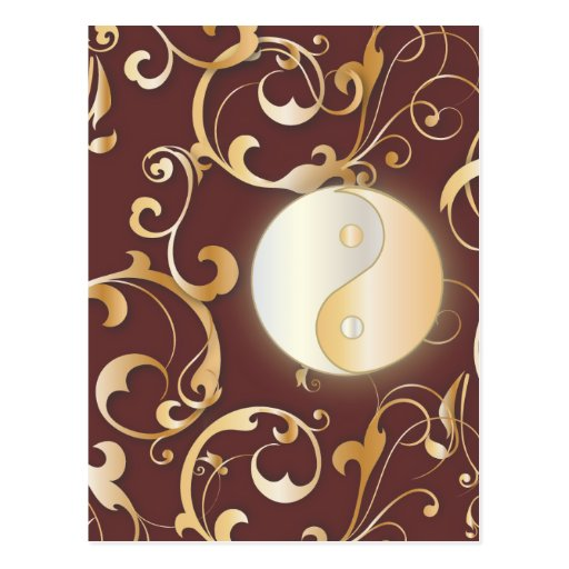 Golden Yin & Yang with scrolls Post Cards