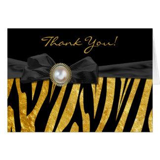 Golden Zebra Print Wedding Thank You Card