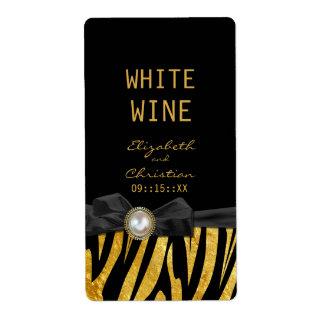 Golden Zebra Print Wedding Wine Labels