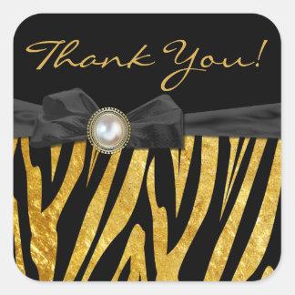 Golden Zebra Wedding Favor Thank You Stickers