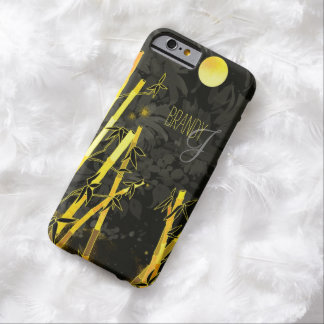 Golden Zen Bamboos on Black Floral Pattern Barely There iPhone 6 Case