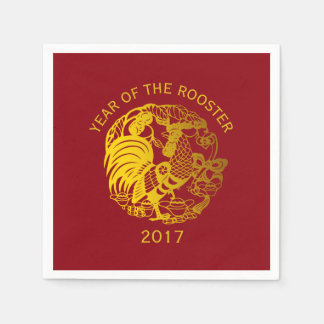 Golden Zodiac 2017 Rooster Year paper napkin