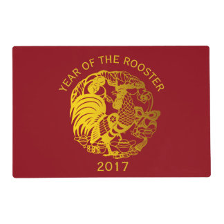 Golden Zodiac 2017 Rooster Year Placemat